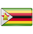 Flags Zimbabwe in the form of a magnet on vector image