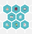 flat icons card paper moneybox and other vector image vector image