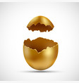 golden egg with cracks isolated on white vector image