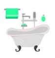 gray vintage bath soap and green towel vector image