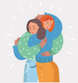 happy young girls hug each other woman friendship vector image vector image