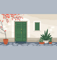 house exterior with front door and window vector image