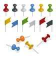 isometric set of push pins and flags in different vector image vector image