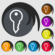 Key icon sign Symbol on eight colored buttons vector image