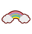 line color bright rainbow in the sky with clouds vector image vector image