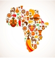 Map of Africa with icons vector image vector image
