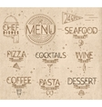 Menu in vintage modern style lines drawn craft vector image