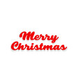 merry christmas text with shadow on a white vector image vector image