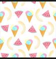 multi-colored balls ice cream in a waffle cone vector image vector image