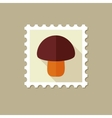 Mushroom flat stamp with long shadow vector image vector image