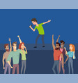 music singer on stage crowd of happy fans beneath vector image vector image