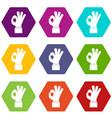 ok gesture icon set color hexahedron vector image vector image