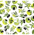Olive branches and jugs of oil seamless pattern vector image vector image