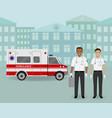 paramedics ambulance team and ambulance car on vector image vector image