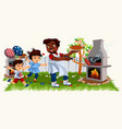 picture of cheerful family cooking bbq vector image vector image