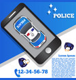 police in form a mobile application vector image vector image