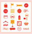 red and orange sale and shopping icons set vector image vector image