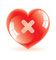 shiny heart with plaster vector image vector image