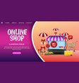 shopping online design concept with laptop vector image