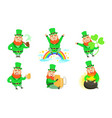 smiling leprechauns set st patricks day cartoon vector image