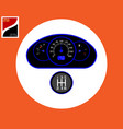 speedometer and gear box of the vehicle vector image vector image