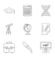 Study of science icons set outline style vector image vector image