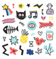 summer doodles set vector image