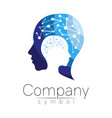 symbol of human head profile face blue vector image