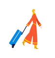 tourist woman walking with suitcase baggage in vector image vector image