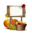 wooden banner with pumpkin vector image vector image