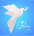 national day of peace white origami pigeon with a vector image