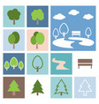 park and tree icon set flat design vector image