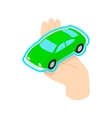 Hand holding the car icon isometric 3d style vector image