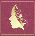 profile of a girl with butterflies vector image