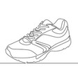 continuous one line drawing sneakers vector image