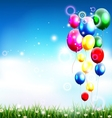 balloons under blue sky and beauty grass vector image