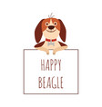 beagle dog holding a sign with inscription flat vector image vector image