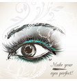 beautiful hand drawn female eye for design vector image vector image