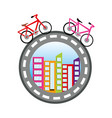 bicycles around the world concept vector image vector image