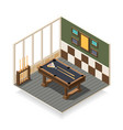 billiard room isometric composition vector image vector image