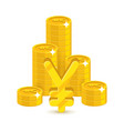 bunch gold chinese yuan or japanese yen isolated vector image vector image
