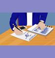businessman writing diagrams vector image vector image