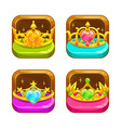 cartoon app icons with golden crowns vector image vector image