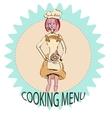 Character girl logo cooking drawing vector image vector image