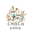 coffee hand drawn original logo with mugs vector image vector image