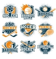 colorful sport emblems set vector image vector image