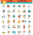 Contact us flat line icon set Modern vector image