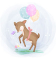 cute little deer with balloons playing in gard vector image vector image