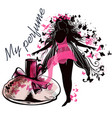elegant with perfume bottle and girl vector image vector image