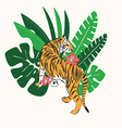 hand drawn tiger with exotic tropical leaves flat vector image
